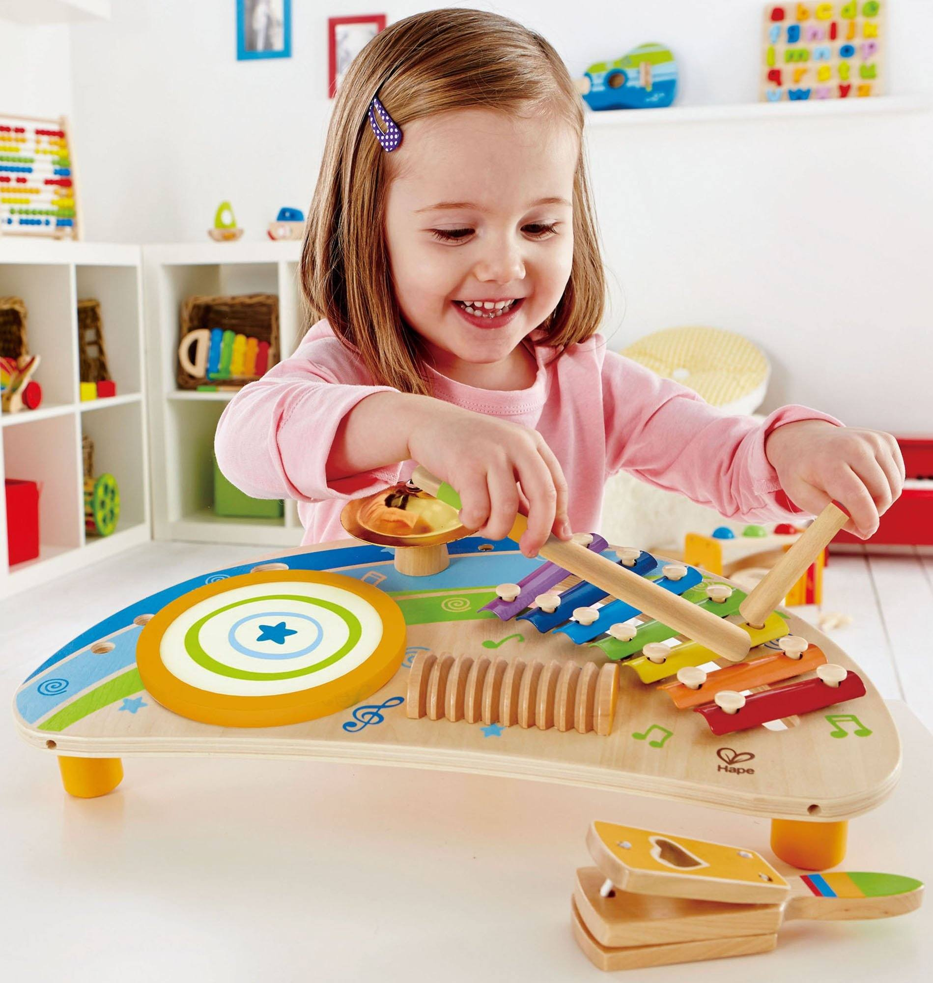 Hape Mighty Mini Band Wooden Percussion Instrument Woodentoyscom