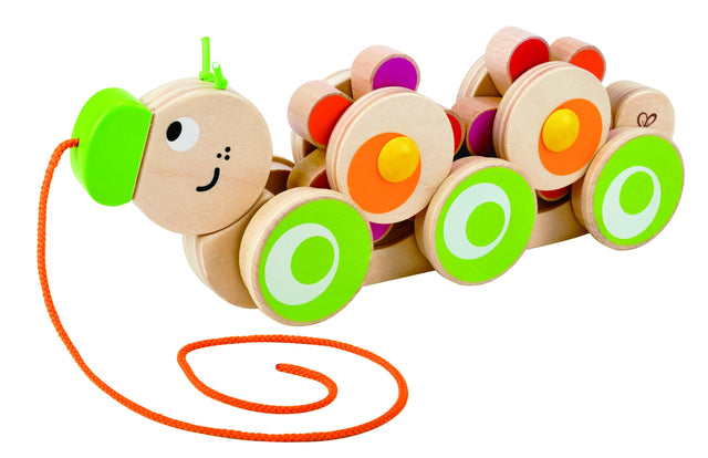 Hape Walk-A-Long Caterpillar Wooden Pull Toy - WoodenToys.com