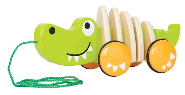 Hape Walk-A-Long Croc Toddler Wooden Pull Along Toy - WoodenToys.com