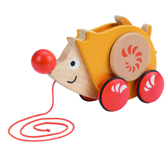 Hape Walk-A-Long Hedgehog Toddler Wooden Pull - WoodenToys.com