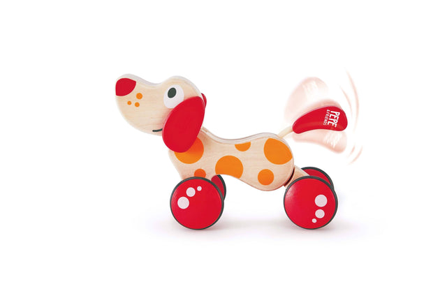 Hape Walk-A-Long Puppy Wooden Pull Toy - WoodenToys.com