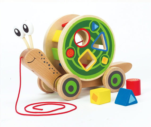 Hape Walk-A-Long Snail Toddler Wooden Pull Toy - WoodenToys.com