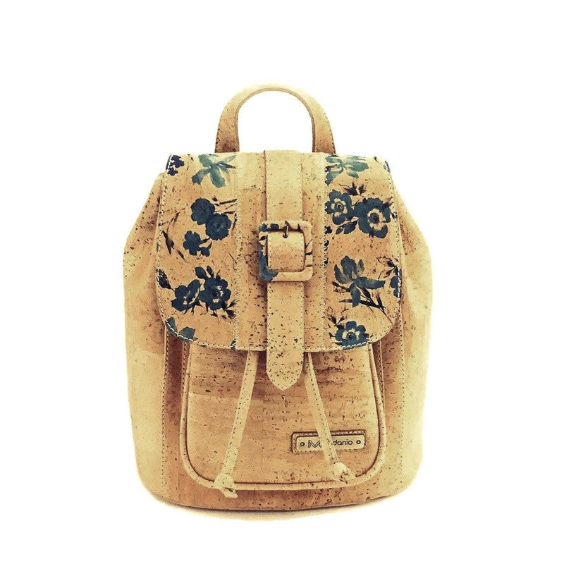 Cork Backpack and Vegan Small Backpack in Blue Floral