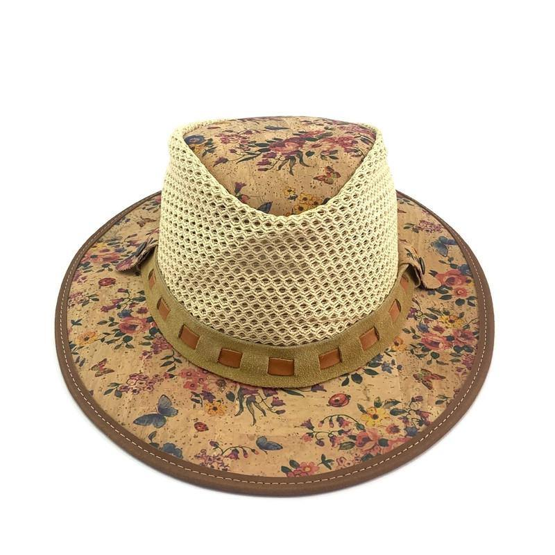 Cork Sun Hat Rose Floral with Net - Moddanio