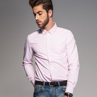 Men's Italian Style Long Sleeve Pink Wedding Shirt Slim Fit Men's Casual Oxford Cotton Shirt