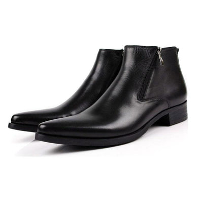 Men's Boots Genuine Leather Black Pointed Toe Luxury Fashion Classic Business Office Formal Ankle Boots Men's Shoes