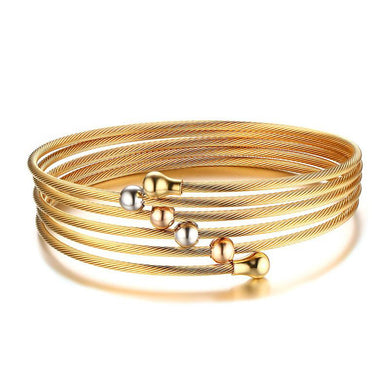 Unique Wire Chain Bracelet Bangle For Women Gold-Color Stainless Steel Charm Beads