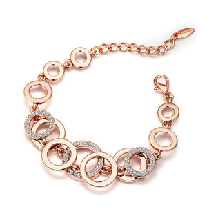 Rose Gold & Silver Color Circles Bracelet & Bangles for Woman Rhinestones Paved Double Layer Round Female Bracelets