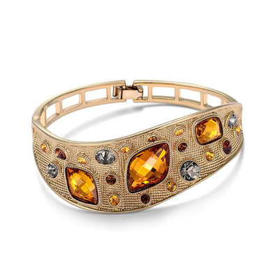 Fashion Jewelry Coffee Gold Color Alloy Woman's Vintage Bangle with Top Austrian Rhinestone Orange Crystal