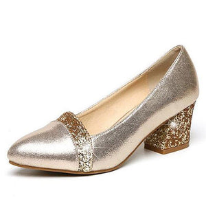 Glitter High Heels 2018 Bling Pumps Gold Platform Women Shoes Fashion Slip On Wedding Shoes Woman Size 35-41