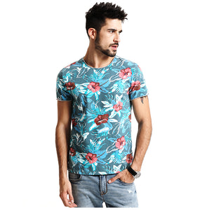 Men's Spring Summer Hawaiian T Shirts 100% Pure Cotton Clothing Print  Tees Plus Size Slim Fit