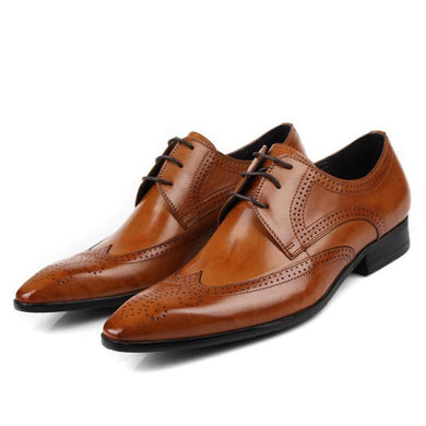 Men's Genuine Leather Luxury Business Dress Shoes Tan Black Italian Fashion Male Shoes 2018