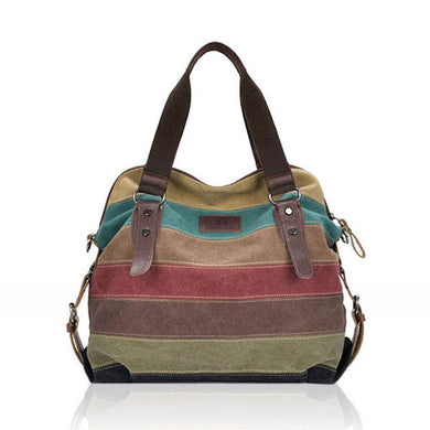 Canvas Bag Striped Crossbody Bags Vintage Contrast Color Canvas Tote Travel Handbags For Women