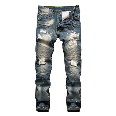 New For 2018 Men's Ripped Biker Jeans Men's Print Striped Skinny Motorcycle Gear Destroyed Jeans