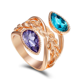 Rose Gold Color Crystal Rings for Women Wide Ring Wedding Bridal Rings Female Blue/Purple Crystals Twisted Rings