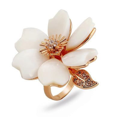 Big Shell Flowers Rings For Women Fashion Rose Gold Color Crystal Rhinestone Leaf Wedding Engagement Ring Jewellery