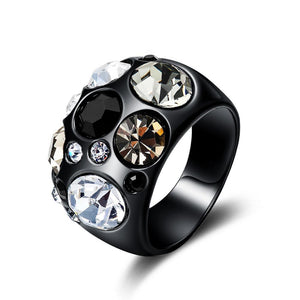 Vintage Black Gun Color Size Rings For Women Multicolor Rhinestones Paved Female Finger Ring Party Trendy Jewelry