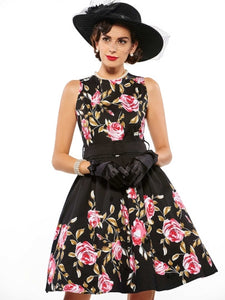 Floral Sleeveless Vintage Women's Day Dress