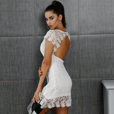 Elegant White Lace Sexy Back Casual Autumn Short Sleeve Fashion Party Dress