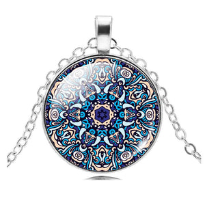 Mixed Indian Jewelry Glass Pendant Necklace Mandala OM Symbol Buddhism Zen Vintage Necklace Silver Color Chain