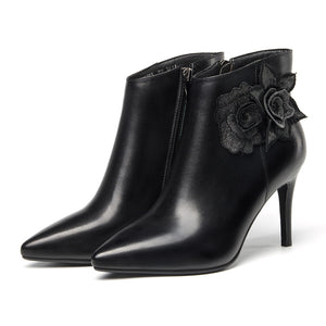 Elegant Point Toe Leather Short Plush Thin Heel Black Ankle Boots For Women