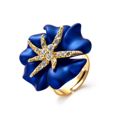 Gold Color Starry Night Flower Cocktail Ring of Luxury Crystals Adjustable Rings for Women