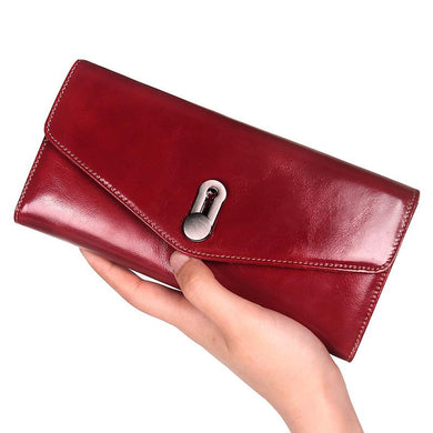 Genuine Leather Wallet Women Luxury Coin Card Holder Female Clutch Bag Women's Red Purse