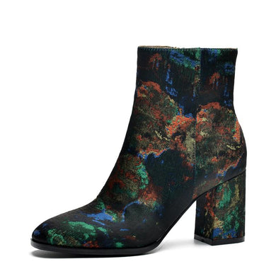 2018 New Ethnic Style Silk Embroider Winter Boots Thick High Heeled Women's Ankle Boots