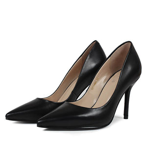 Handmade Classic Pointed Toe Office Career Genuine High Thin Heels Women Shoes