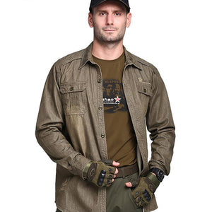 Men's 2018 Long Sleeve Military Shirt Men Spring Tactical Shirt Cotton Shirt With Pockets Plus Sizes 4XL