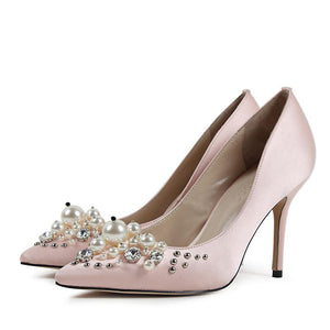 2018 Diamond Luxury Sexy Dancing Fashion Wedding Party Real Silk Thin High Heel Shoes For Women