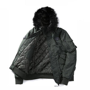 Men's Warm Winter Military Jacket With Faux Fur Hood Army Style Parka Hooded Coat Jackets For Men