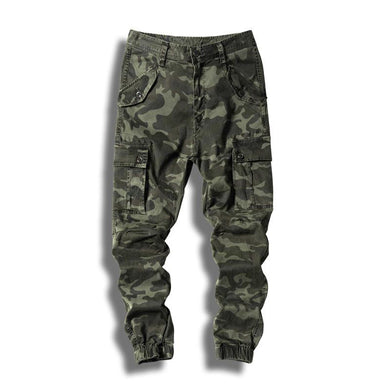 Men's Camouflage Cargo Pants Camo Military Style Joggers With Elastic Multi Pockets Army Pants