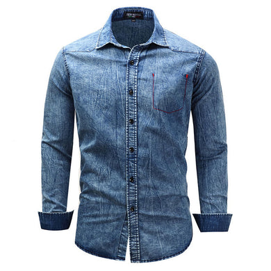 New For 2018 Men's Long Sleeve Cotton Denim Casual Shirt Turn-Down Collar Plus Sizes