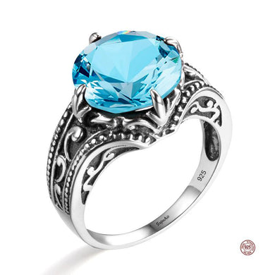 Luxury Flower Round Aquamarine Ring Bohemia 925 Sterling Silver Jewelry Wedding Rings For Women