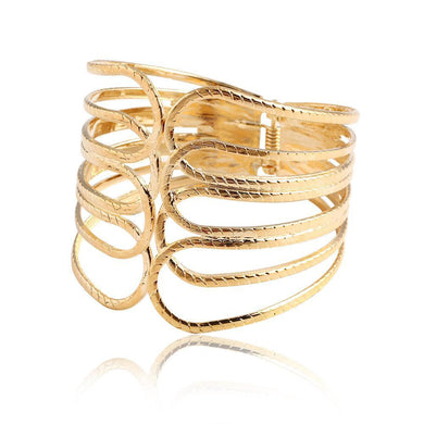 New Design Gold Color Alloy Simple Hollow Out Wide Bracelet Jewelry Wide Bracelet & Bangles For Women