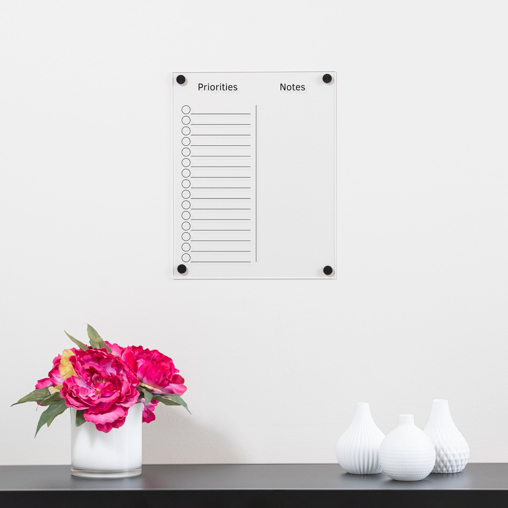 Small Clear Acrylic Priorities Dry Erase Board