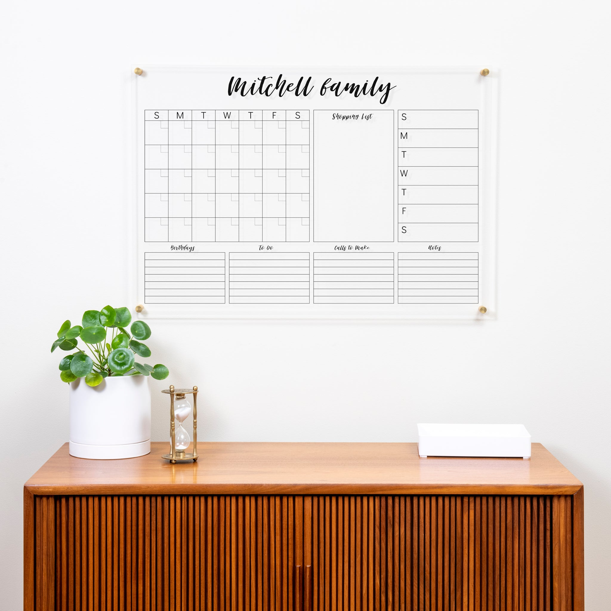 Clear Personalized Acrylic Calendar for Wall