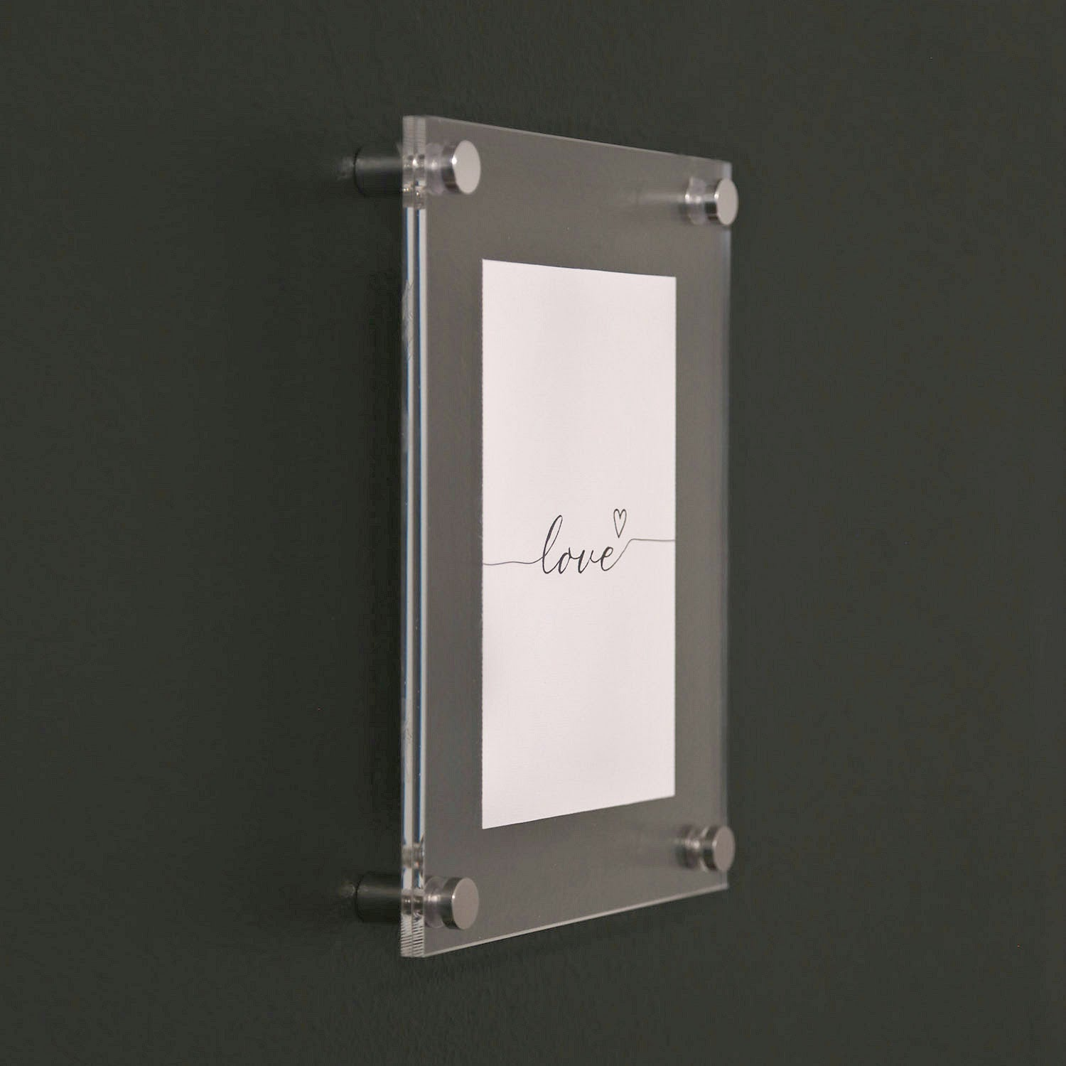 Acrylic Frame with Silver Standoff Bolts