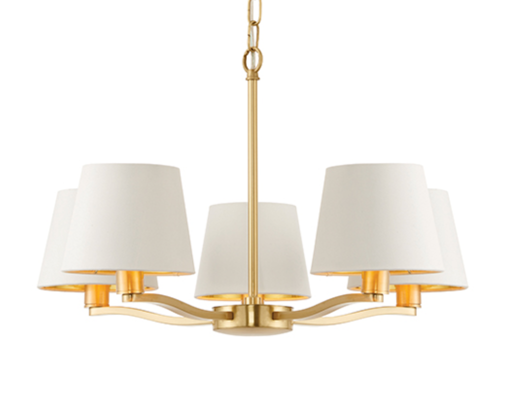 5 bulb brushed satin gold ceiling light with fabric shades