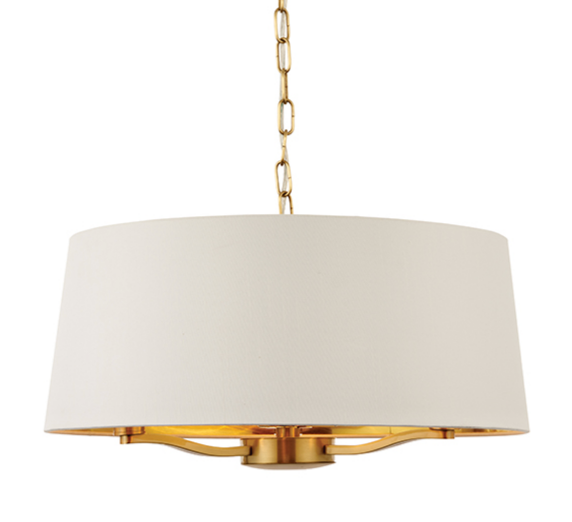 3 bulb satin gold ceiling light with fabric shade
