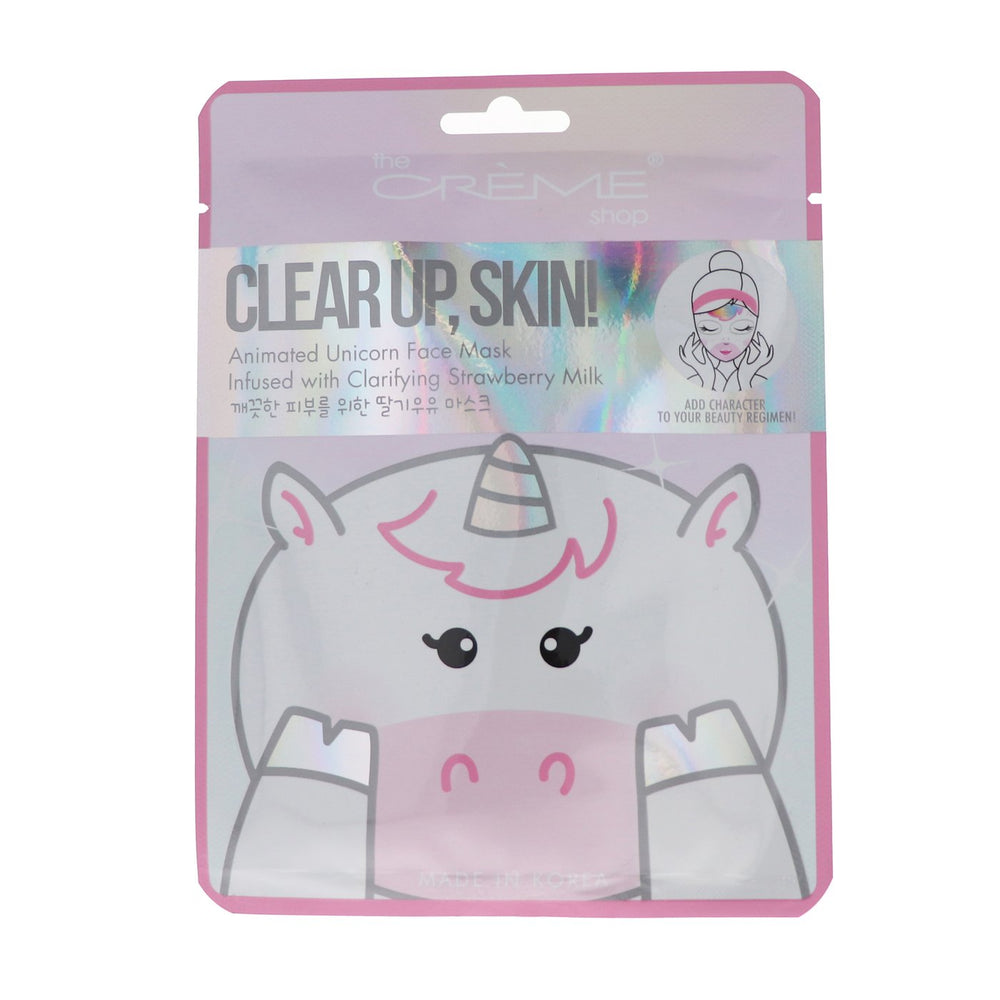 The Creme Shop Clear Up, Skin! Unicorn Face Mask - Clarifying Strawberry Milk