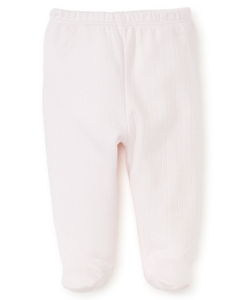 Pink Pointelle Footed Pant