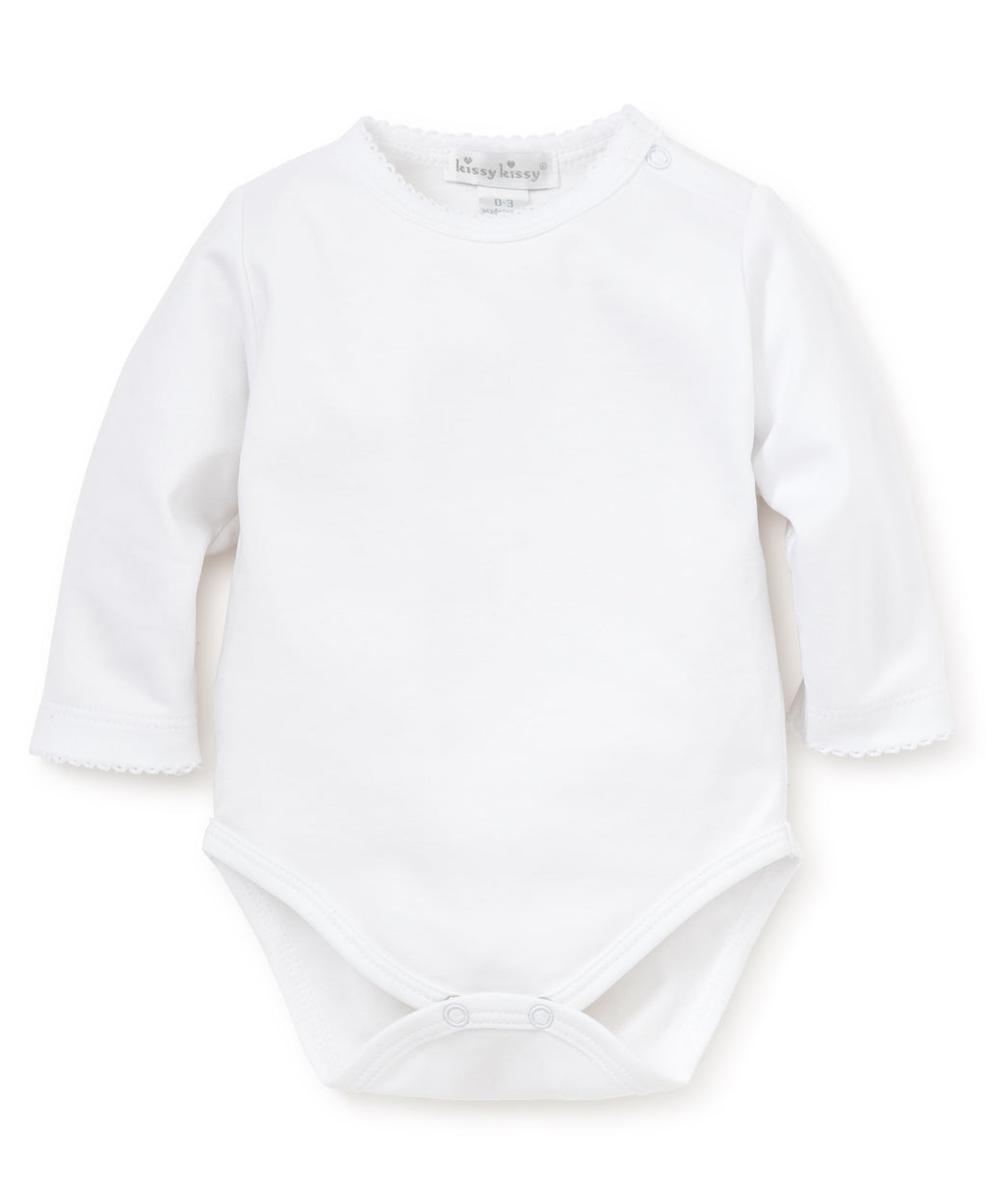 White Kissy Basics Long Sleeve Bodysuit