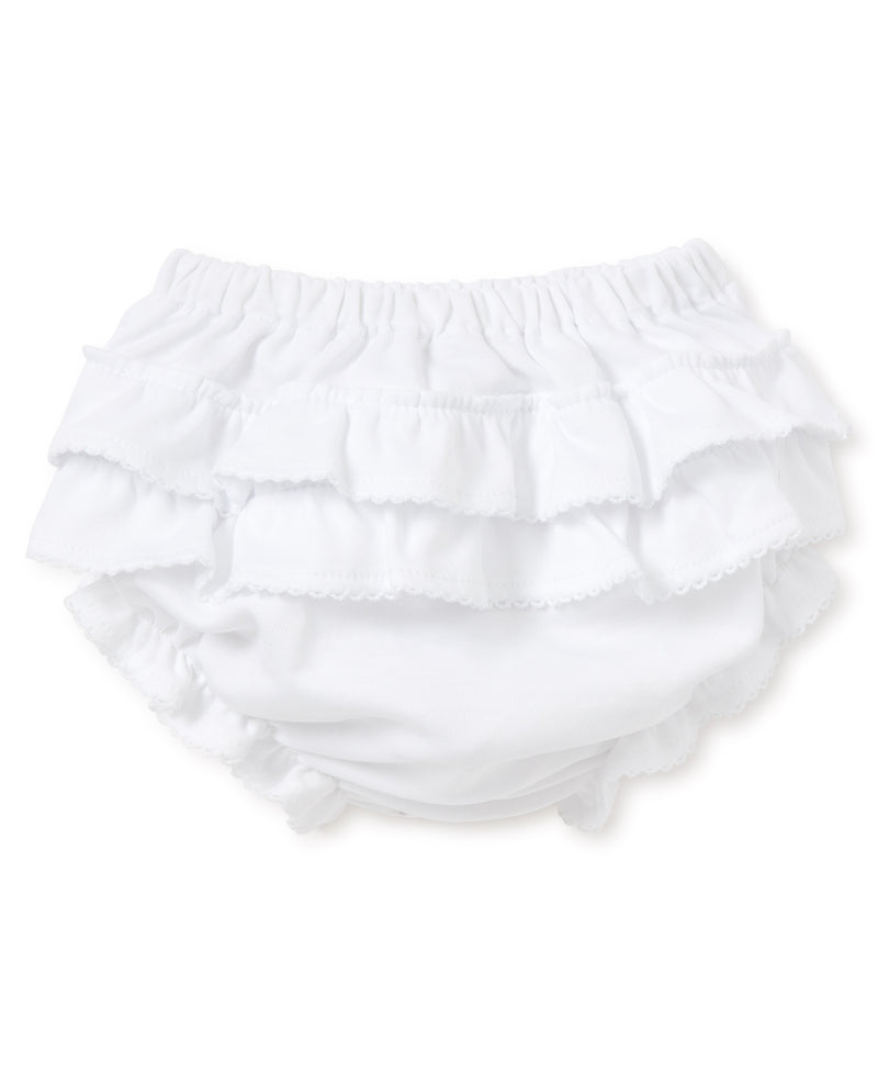 White Kissy Basics Ruffle Diaper Cover