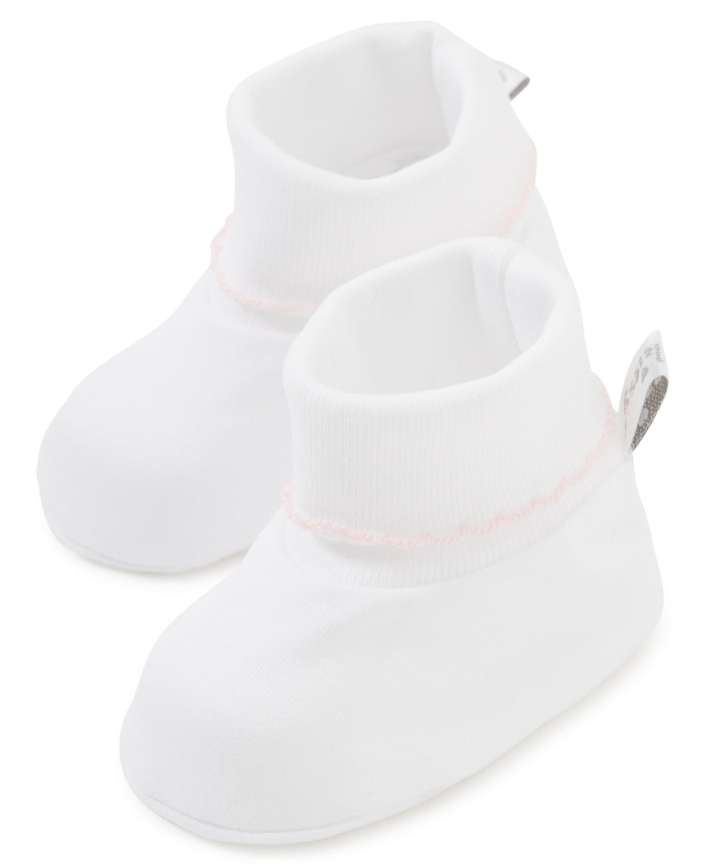 White/Pink Kissy Basics Booties