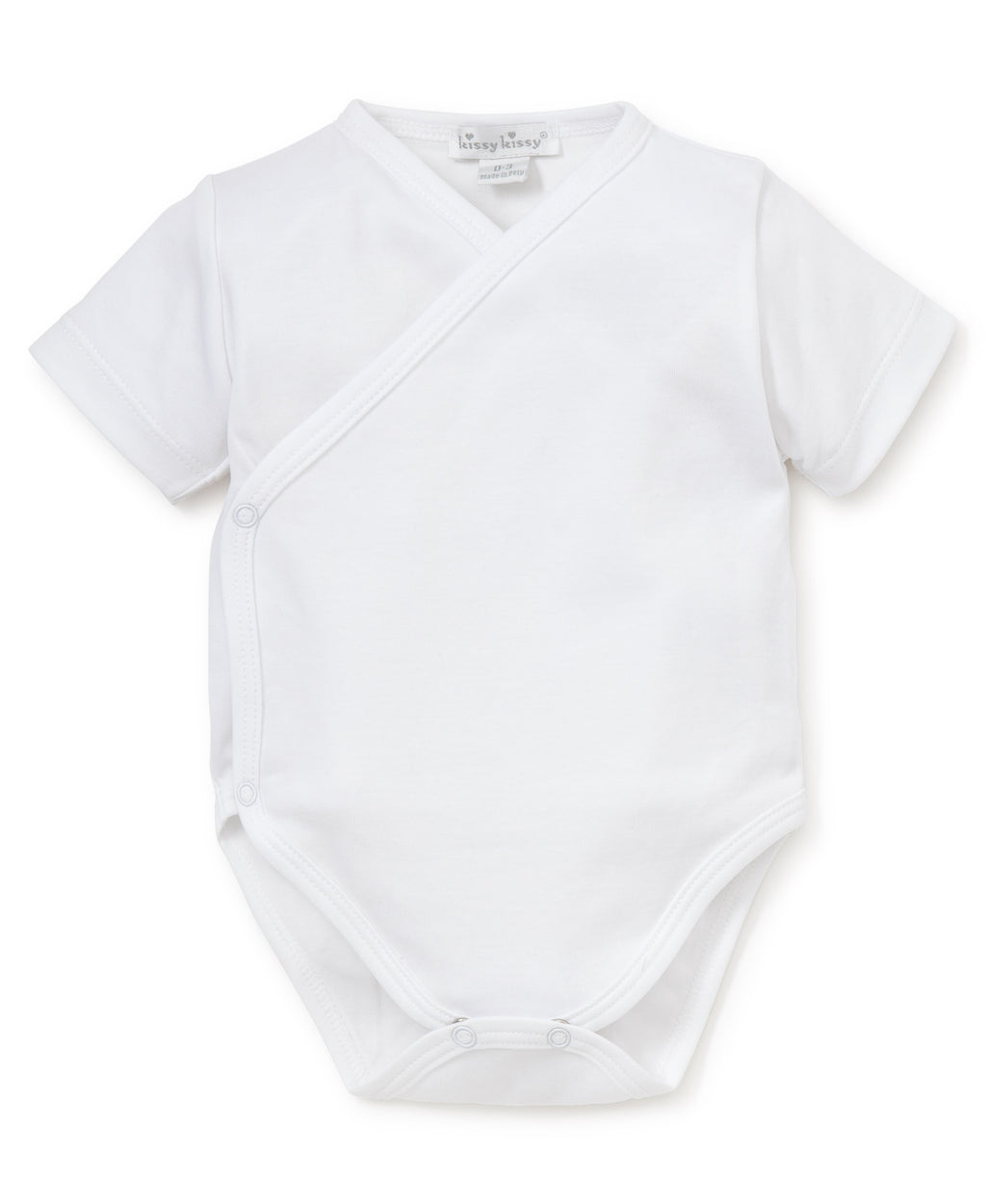 White Kissy Basics Short Sleeve Cross Bodysuit
