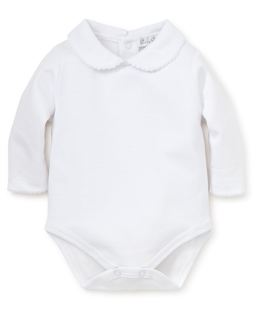 White Kissy Basics L/S Bebe Collar Bodysuit