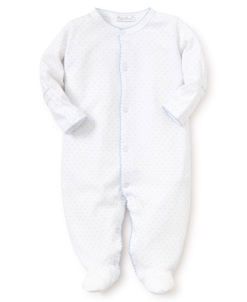 White/Blue New Kissy Dots Print Footie