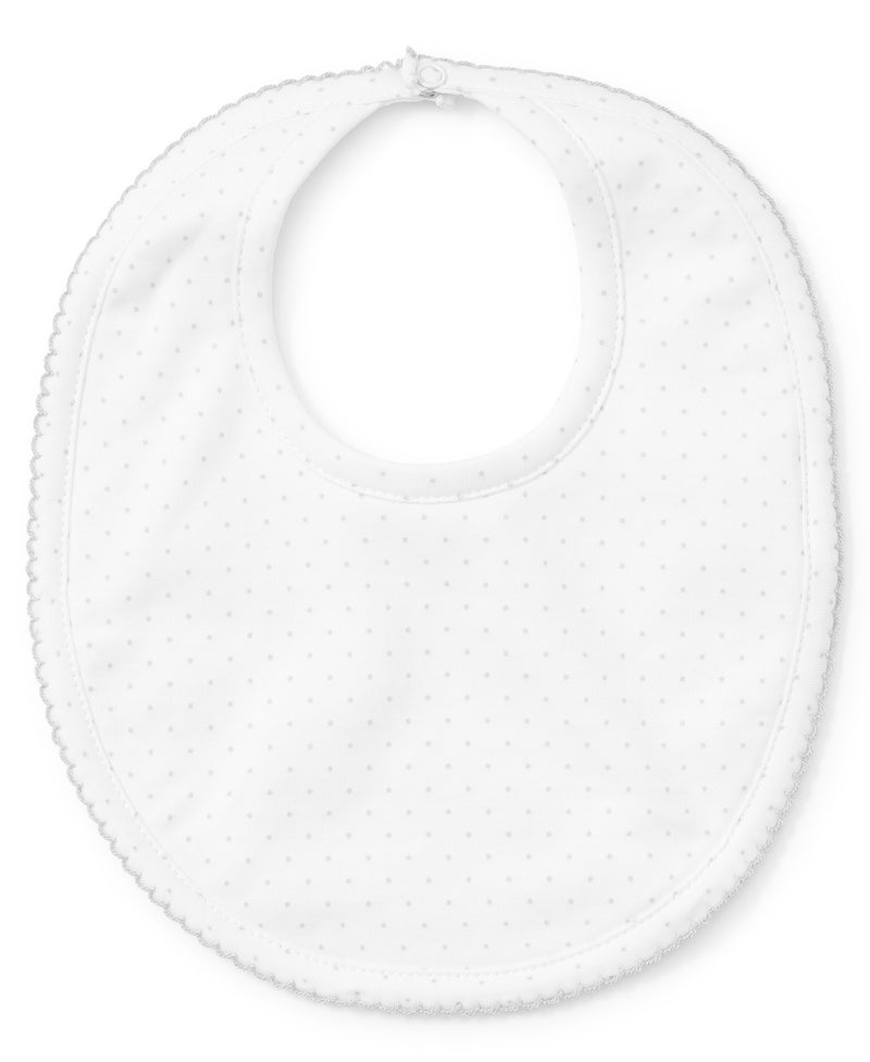 White/Silver New Kissy Dots Print Bib